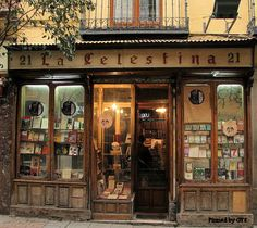 Old bookstore on the street Huertas, Barrio de las Letras, Madrid, Spain