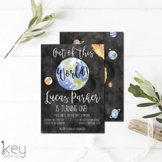 LOVE this Outer Space Birthday Invitation - Out of the World Birthday Pin for First Birthday Party