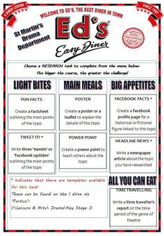 Takeaway homework - diner menu!