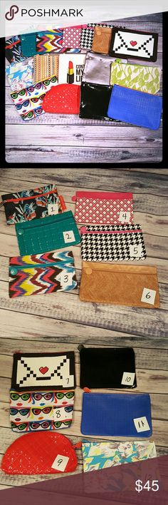 Ipsy cosmetic bags, Pick any 4 This is for 4 Ipsy bags (not for all of them).  You can pick them by number in your comments and then hit the buy button.  All the bags are nwot.  All my stuff comes from a smoke free and pet free home.  I encourage you to bundle to save on shipping, so check out my closet for other deals! Ipsy Bags Cosmetic Bags & Cases