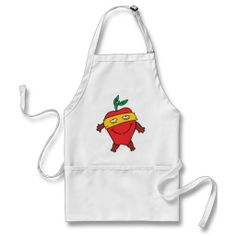 Red Apple Superhero - Healthy Food Super Hero Aprons #Aprons #Apple #Gifts