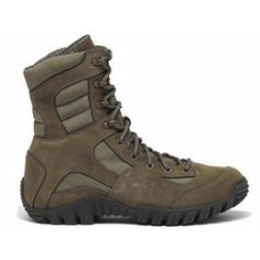 """Khyber - Sage Green High Performance Mountain Hybrid Boot Belleville. $114.99. Exclusive VIBRAM® """"IBEX"""" Outsole for Rugged Terrain. Deeply Serrated Toe Bumper Aids in Vertical Climbing & Crawling. Aggressive Lace-to-Toe Style Allows for a Customized Fit. 8 inch military height. canvas"""