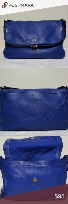 Sapphire blue Fossil Preston bag Large Pre owned. Gorgeous color. Shows wear on the corners and tarnished hardware. Fossil Bags Crossbody Bags