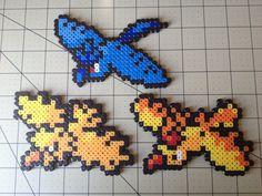 Pokemon Bead Sprite Set  Articuno / Zapdos / by ToughTurtles, $7.50