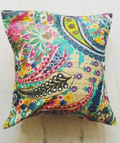 16x16 multicolor Kantha Pillow Cover Kantha by cushionlovers10
