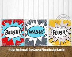 PRINTABLE Superhero Bathroom Wall Art Brush Wash Flush Super hero Bathroom Rules Comic Bathroom Personal Hygiene Reminders Bathroom Decor