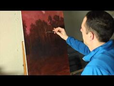 The Subtle Nature - A time lapse landscape painting. Clouds, trees and water by Tim Gagnon Oil Painting Basics, Oil Painting Frames, Acrylic Painting Lessons, Painting Videos, Painting Tips, Painting Prints, Painting & Drawing, Painting Clouds, Painting Tutorials