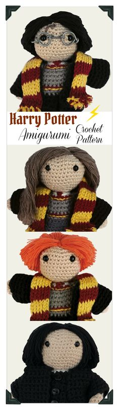Accio! I really need this Harry Potter Amigurumi Crochet Pattern Set for my little witch and wizards ...#afflink #harrypotter #etsy