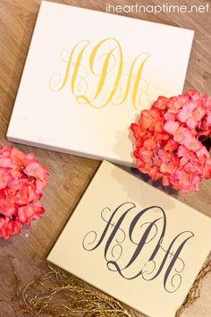 #DIY monogram boxes on iheartnaptime.com ...easy and cute craft idea!