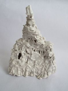 Fired slip trailed porcelain piece by Emma Sutherland