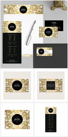 Gold Flowers Design Suite The gold floral design by 1201AM combines vintage elements with modern styling to create unique brand materials for your business or personal identity. Available to personalize on business cards, rack cards, stationery, letterhead, office supplies, craft supplies and more.
