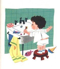 stickers and stuff: Baby's House - Mary Blair Mary Blair, People Illustration, Love Illustration, Digital Illustration, Disney Artists, Cartoon Background, Rabbit Art, Retro Art, Illustrations And Posters