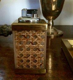 1970 Italian Design: Brass, Vienna Straw, Lucite Lighter.