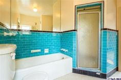 Vintage turquoise tiles TO DIE FOR.