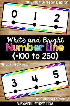 Are you looking for a number line for your classroom wall? This bright neon and white number line will be perfect! This would be great for any math classroom or even math stations. Neon Classroom Decor, Classroom Walls, Future Classroom, School Classroom, Classroom Themes, Classroom Organization, Classroom Resources, Classroom Management, Teaching Resources