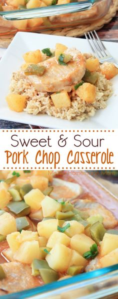 Sweet-and-Sour Pork Chop Casserole - simple ingredients! Boneless pork chops, pineapple, green pepper, and brown rice in a sweet sauce. Dinner the entire family will LOVE! #AllNaturalPork AD