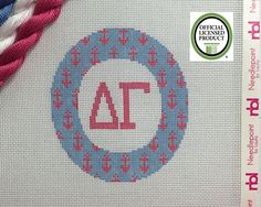 Delta Gamma Needlepoint Ornament 4 inch round with anchors