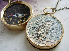 Map Compass Necklace, choose your city personalized anniversary gift custom map compass graduation gifts, vintage Taiwan Formosa Map via Etsy