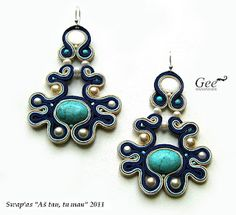 turquoise blue and pearls soutache earrings