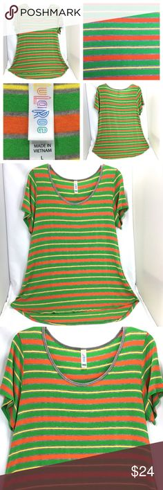 Women Top LuLaRoe Irma Shirt Stripes Green Orange LuLaRoe Irma Top / Shirt / Blouse High / Low Size Large Short Sleeve Scoop neckline Stripes / Striped Multicolor- (Green Orange Yellow Gray) Simply Comfortable (Soft) Stretch (Rayon 95% / Spandex 5%) Retails $35 Great condition. No holes, stains or rips  Thank you for stopping by. Please check out our other items to BUNDLE and SAVE! LuLaRoe Tops Tees - Short Sleeve