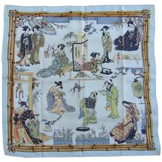Preowned Rare Collector Hermes Vintage Silk Scarf Geisha Japan... (5.685 RON) ❤ liked on Polyvore featuring accessories, scarves, grey, silk shawl, grey shawl, wrap shawl, colorful scarves and grey scarves