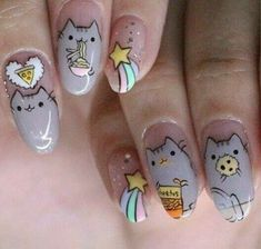 """If you're unfamiliar with nail trends and you hear the words """"coffin nails,"""" what comes to mind? It's not nails with coffins drawn on them. It's long nails with a square tip, and the look has. Kawaii Nail Art, Cat Nail Art, Animal Nail Art, Cat Nails, Nail Art Designs, Blog Designs, Do It Yourself Nails, Nagel Blog, Nails For Kids"""