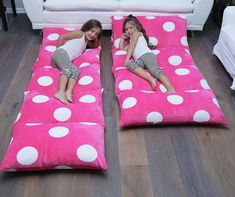 Pink pillow lounger that also turns into a beanbag. Great for nap times, reading a book or slumber parties. Tween girls love this. Teen Girl Bedrooms, Kids Bedroom, Bedroom Ideas, Teen Rooms, Bedroom Decor, Slumber Parties, Sleepover, Pillow Lounger, Pillow Mattress