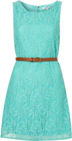 Topshop Belted Lace Dress By Rare in Blue (aqua)