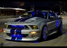 """Mustang Cars : Illustration Description 08 Shelby GT 500 """"Super Snake"""" rap in blue Ford Mustang Shelby Gt500, Ford Shelby, Mustang Cars, Us Cars, Sport Cars, Shelby Gt 500, Automobile, Modern Muscle Cars, Ac Cobra"""