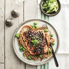 Sesame-crusted Arctic char on soba noodles