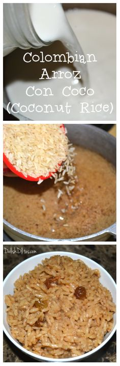 An authentic recipe for Colombian Arroz Con Coco (Coconut Rice) So after meeting my husband, he told me that one of his favorite foods was Colombian arroz con coco (coconut rice). Colombian Dishes, Colombian Cuisine, Colombian Desserts, Filipino Desserts, Columbian Recipes, American Dishes, Good Food, Yummy Food, Comida Latina