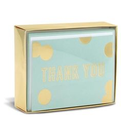"Blue and Gold Sweet 3"" x 4"" Folded Notes by Graphique de France. Say thanks in style with these mint and gold thank you notes! 10 cards & envelopes. $10.00"