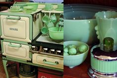 Jadeite became popular in the and today the delightful green dishware brightens tables just as it did more than 60 years ago. Vintage Kitchenware, Vintage Kitchen Decor, Vintage Appliances, Antique Glassware, Kitchen Appliances, Shutter Decor, Green Milk Glass, Vintage Stoves, Antique Stove