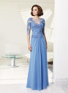 Love this VM Collection - 70903! Beautiful beading - & sleeves! Perfect gown for the Mother of the Bride or Mother of the Groom! Periwinkle, Black & Eggplant.