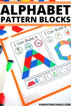 Alphabet Pattern Block Printable Task Cards Pattern Block Templates, Pattern Blocks, Alphabet Blocks, Alphabet For Kids, Abc Activities, Beginning Sounds, Letter Formation, Pencil Boxes, Dry Erase Markers
