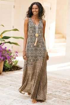 Soft Surroundings Dresses - Plus-size Tulum Maxi Dress Tribal Maxi Dresses, Tribal Dress, Dress Outfits, Casual Dresses, Fashion Dresses, Summer Dresses, Nice Outfits, Dresses Dresses, Mode Kimono