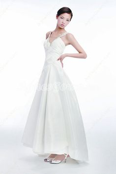 Casual V-Neckline Destination Wedding Dress