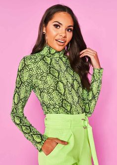 afef38683eb Missyempire - Yula Neon Green Snake Print High Neck Top High Neck Top,  Snake Print