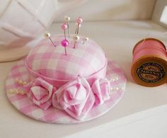 Handmade hat pincushion with folded roses (my_studio) Tags: hat rose beads pin handmade gingham cotton ribbon pincushion shape cushion padded Cd Crafts, Fabric Crafts, Sewing Crafts, Sewing Projects, Thread Catcher, Pink Gingham, Gingham Fabric, Pink White, Needle Book