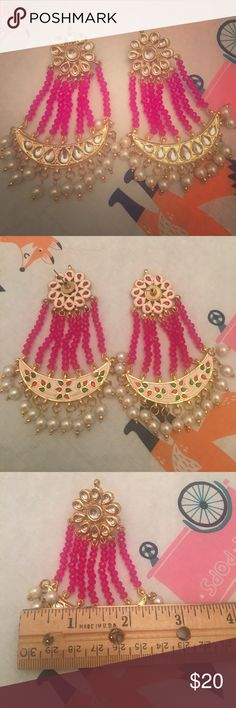 """Bollywood bright pink and pearl dangly earrings Gorgeous bright pink, gold and pearl earrings. 3"""" across and 3.5"""" long. I wore these once for a wedding and received so many compliments!! Perfect for summer with your hair in a bun to show these beauties off. Jewelry Earrings"""