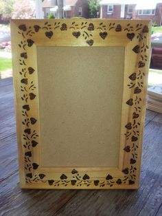 Heart Vine Picture Frame  Woodburned by PurpleCowArt on Etsy, $10.00