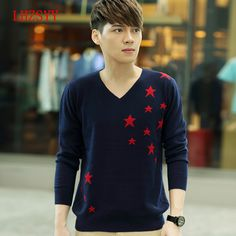 New Autumn and winter Men's Cashmere Sweater V-neck Knit Pullover Sweaters Men Leisure Star pattern Loose Wool Sweater