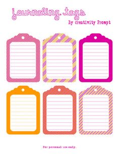 Friday Freebie – Hot Hot Hot Journaling Tags | Creativity Prompt