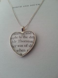 North and South Mr Thornton Necklace.  Elizabeth Gaskell.  Book Page Jewellery by GlamorousGlueDesigns, $17.50