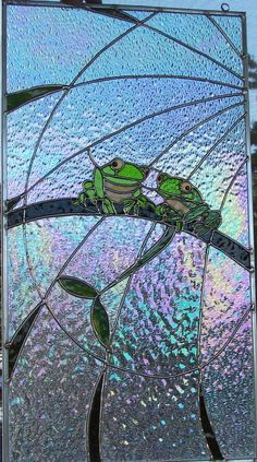frogs on iridescent background
