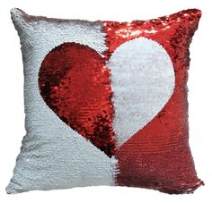 Heart Design Magic Sequins Throw Pillow Cushion Covers in Red and White Cheap Wall Art, Modern Interior, Interior Design, Red Home Decor, Interior Decorating Styles, Unique Wall Decor, Home Look, Cushion Covers, Throw Pillows