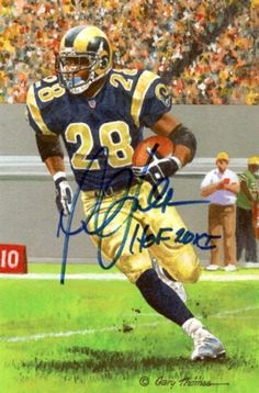 Marshall Faulk Autographed Goal Line Art Card HOF MCS COA . $79.00. This is a Goal Line Art card that has been hand signed by Marshall Faulk. It comes with a certificate from our company, Mill Creek Sports. He has added his HOF inscription.