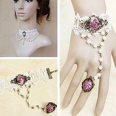 Handmade Pearl Beads White Lace Sweet Lolita Accessories Set – USD $ 39.99