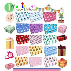 Colorful 1st Birthday Wrapping Paper By Jaclinartfan202 On Polyvore Baby First