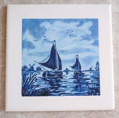 Delft Blue Ceramic Tiles Set of 2 Windmill Boats DK Made in Japan Vintage Destash by cutterstone on Etsy